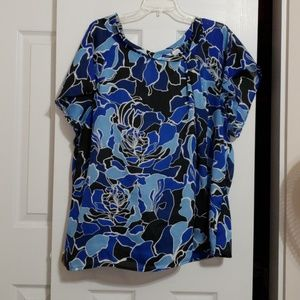 Blue, black, and white blouse